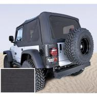 SOFT TOP, RUGGED RIDGE, FACTORY REPLACEMENT WITH DOOR SKINS, TINTED WINDOWS, 97-02 WRANGLER, BLACK DEN
