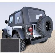 """SOFT TOP, RUGGED RIDGE, FACTORY REPLACEMENT NO DOOR SKINS, 97-02 WRANGLER, DEN BLACKRugged Ridge Fabric Replacement Soft Top has been developed out of years of industry research and engineering. Our trained staff of Jeep experts have developed an entire program that offers the best value, selection and design of any Fabric have developed an entire program that offers the best value, selection and design of any Fabric Soft Top offering. Each Fabric Soft Top is specifically designed to easily fit the factory original soft top hardware. Simply take off the old top and slip on the new. It is just that easy! All Rugged Ridge Soft Tops feature durable vinyl coated polyester and cotton fabric and crystal clear DOT approved glass windows that will last the test of time. All sewn seams use marine grade  thread to make sure it does not deteriorate or discolor in the sun. Each seam is literally """"welded shut"""" with durable heat seal tape to keep moisture out while keeping the original look of the top intact. Attaching the Rugged Ridge Top is easy with the factory original """"belt rail"""" attachment method; simply tuck under the rail and go! All our tops feature two choices of door  upper soft doors or with full hard doors. Rugged Ridge makes a Replacement Top that fits either!     Replaces: 13705.15Made in CHINAUPC: 804314121433Label: S-TOP 97-02 TJ NO-DRS BLK-DNM"""