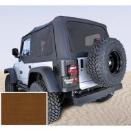"""SOFT TOP, RUGGED RIDGE, FACTORY REPLACEMENT NO DOOR SKINS, TINTED WINDOWS, 97-02 WRANGLER, DARK TANRugged Ridge Fabric Replacement Soft Top has been developed out of years of industry research and engineering. Our trained staff of Jeep experts have developed an entire program that offers the best value, selection and design of any Fabric have developed an entire program that offers the best value, selection and design of any Fabric Soft Top offering. Each Fabric Soft Top is specifically designed to easily fit the factory original soft top hardware. Simply take off the old top and slip on the new. It is just that easy! All Rugged Ridge Soft Tops feature durable vinyl coated polyester and cotton fabric and crystal clear DOT approved glass windows that will last the test of time. All sewn seams use marine grade  thread to make sure it does not deteriorate or discolor in the sun. Each seam is literally """"welded shut"""" with durable heat seal tape to keep moisture out while keeping the original look of the top intact. Attaching the Rugged Ridge Top is easy with the factory original """"belt rail"""" attachment method; simply tuck under the rail and go! All our tops feature two choices of door  upper soft doors or with full hard doors. Rugged Ridge makes a Replacement Top that fits either!     Replaces: 13706.33Made in CHINAUPC: 804314121471Label: S-TOP TINT 97-02 TJ NO-DRS D-T"""