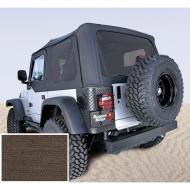 """SOFT TOP, RUGGED RIDGE, FACTORY REPLACEMENT WITH DOOR SKINS, TINTED WINDOWS, 03-06 WRANGLER, DIAMOND KHAKIRugged Ridge Fabric Replacement Soft Top has been developed out of years of industry research and engineering. Our trained staff of Jeep experts have developed an entire program that offers the best value, selection and design of any Fabric have developed an entire program that offers the best value, selection and design of any Fabric Soft Top offering. Each Fabric Soft Top is specifically designed to easily fit the factory original soft top hardware. Simply take off the old top and slip on the new. It is just that easy! All Rugged Ridge Soft Tops feature durable vinyl coated polyester and cotton fabric and crystal clear DOT approved glass windows that will last the test of time. All sewn seams use marine grade  thread to make sure it does not deteriorate or discolor in the sun. Each seam is literally """"welded shut"""" with durable heat seal tape to keep moisture out while keeping the original look of the top intact. Attaching the Rugged Ridge Top is easy with the factory original """"belt rail"""" attachment method; simply tuck under the rail and go! All our tops feature two choices of door  upper soft doors or with full hard doors. Rugged Ridge makes a Replacement Top that fits either!     Replaces: 13708.36Made in CHINAUPC: 804314121525Label: S-TOP TINT 03-06 TJ W/ DRS KKD"""