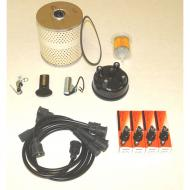 TUNE UP KIT MB 41-45Kit includes: Oil Filter, Fuel Filter, Ignition Wire Set, Spark Plugs (4), Distributor Cap, Distributor Rotor, Ignition Points & Condensor                             Replaces: TUK-101Made in USAUPC: 804314111007Label: 17257.71 TUNE UP KIT MB 41-45