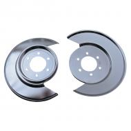 This is a pair of brand new brake splash shields. These will fit all 1976-1978 Jeep CJ models w/6 bolt caliper plates. Available in stainless steel.  Factory Part Number: J5363379