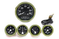 "Speedometer is 3"" the rest are 2"". Green Bezel. Black face with white letters."